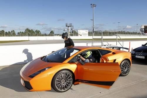 Jon Secada gets into a Lou La Vie Lamborghini