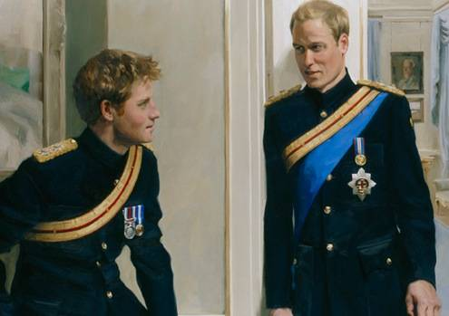 prince william and harry portrait. Portraits include people who