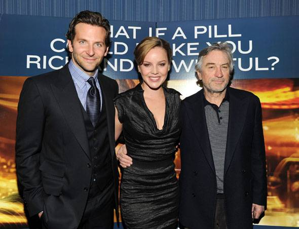"Actors Bradley Cooper, Abbie Cornish and Robert De Niro attend Relativity Media's world premiere of ""Limitless"" presented by Deleon Tequila at Regal Union Square Theatre, Stadium 14 on March 8, 2011 in New York City."