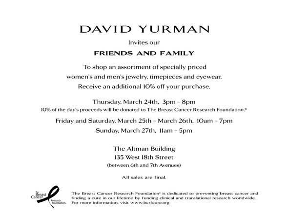 David Yurman Sample Sale at the Altman Building in NYC