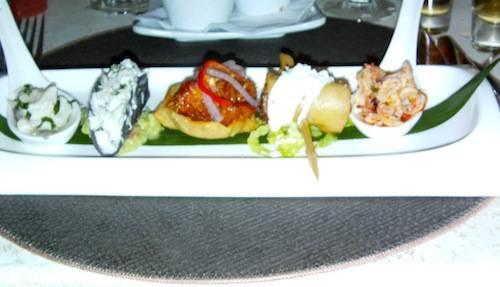 Snapper Ceviche, Tostada de Cochinita Pibil, Blue Corn tortilla Crab Taco, Oven Roasted Organic Chicken Flautas and Octopus Ceviche
