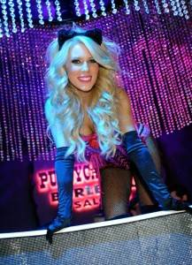 Gretchen Rossi poses in the famous Pussycat Dolls Burlesque Saloon rhinestone-studded bathtub.