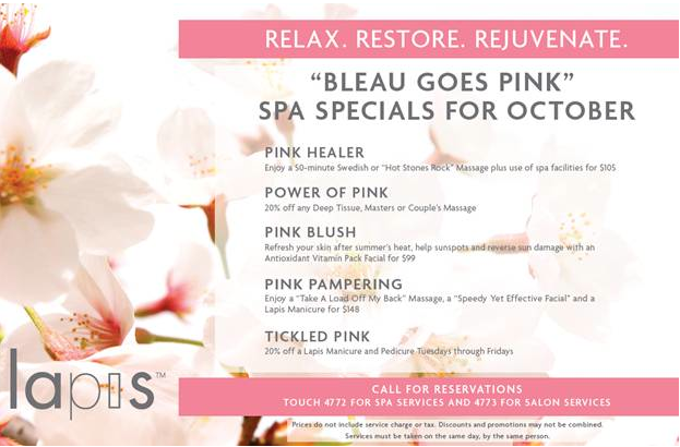 lapis spa bleau goes pink for breast cancer awareness month and adds 15 new treatments to menu. Black Bedroom Furniture Sets. Home Design Ideas