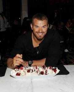 Kellan with dessert