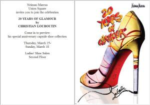 afc88170109 Celebrate Christian Louboutin s 20th Year Anniversary at Neiman Marcus SF