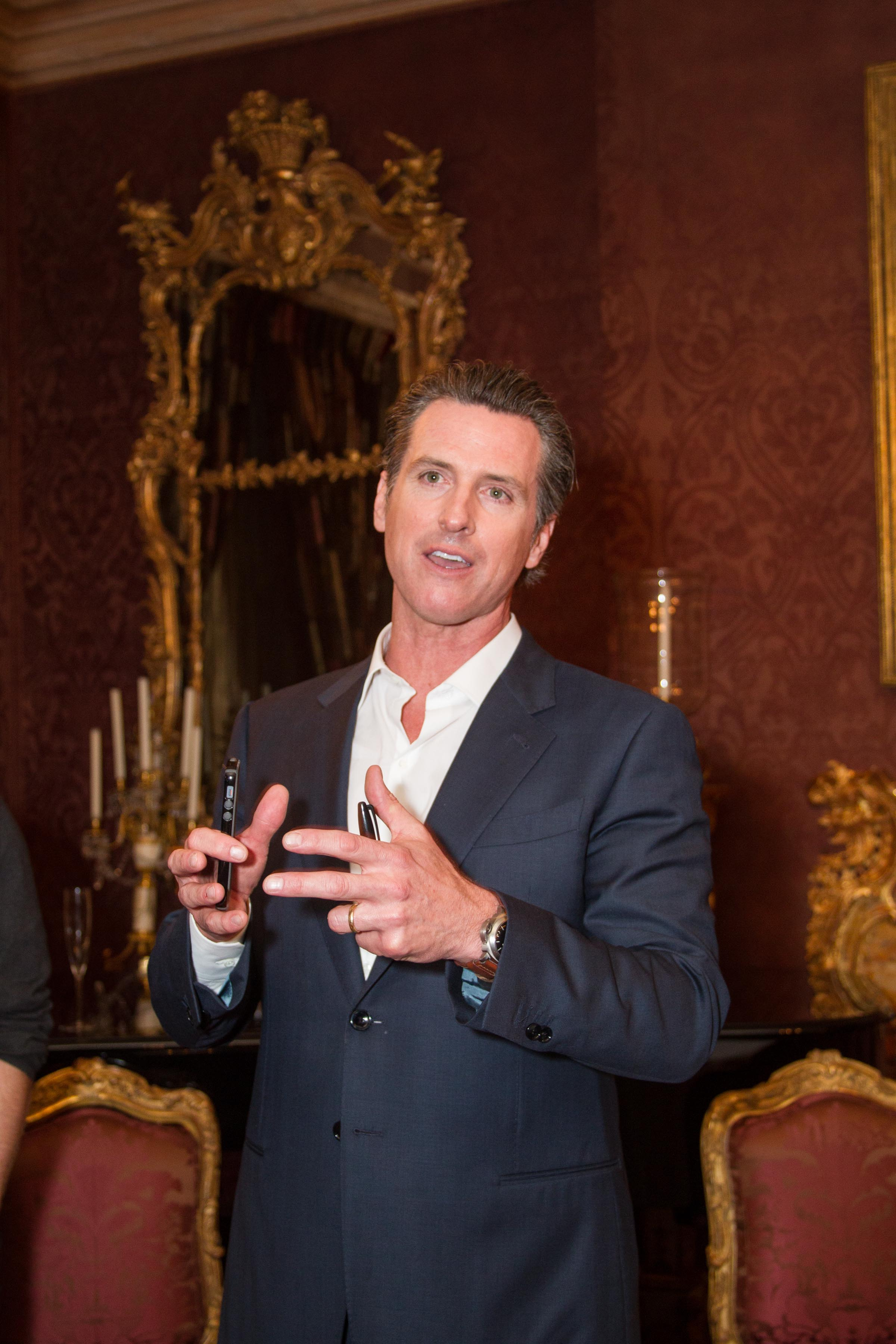 Gavin Newsom Speaks at His Book Launch, Held at the Home of Ann and Gordon Getty