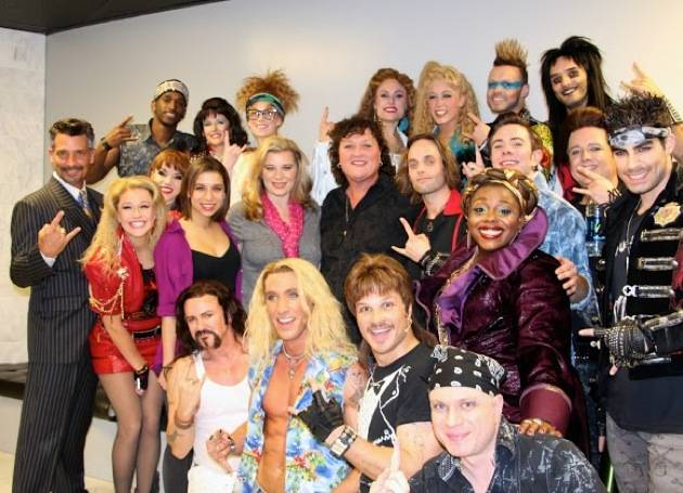 "Dot-Marie Jones poses backstage with the ""Rock of Ages"" cast. Photos: Rock of Ages"