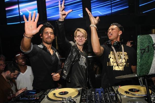 Pauly D and Chord Overstreet at Haze Nightclub.