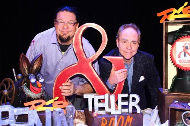 Rio headliners Penn & Teller pose with their custom-made cake celebrating their 20th anniversary performing in Las Vegas. Photos: Scott Roeben/Caesars Entertainment