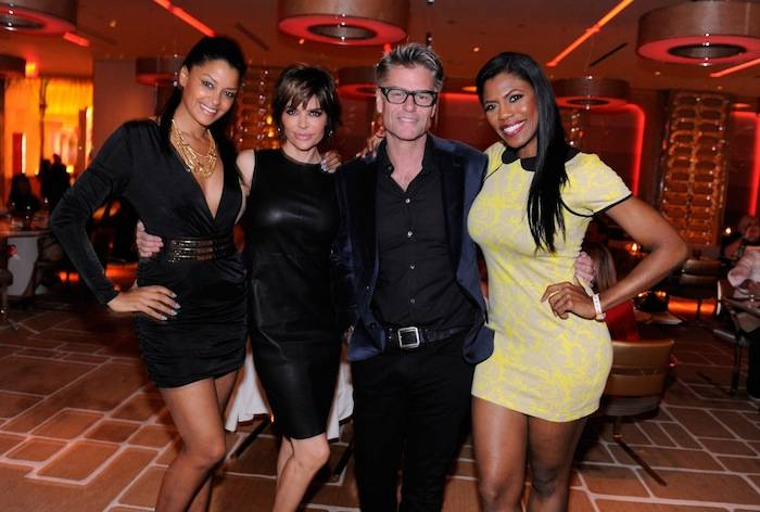 Claudia Jordan, Lisa Rinna, Harry Hamlin and Omarosa at Andrea's. Photos: David Becker/WireImage