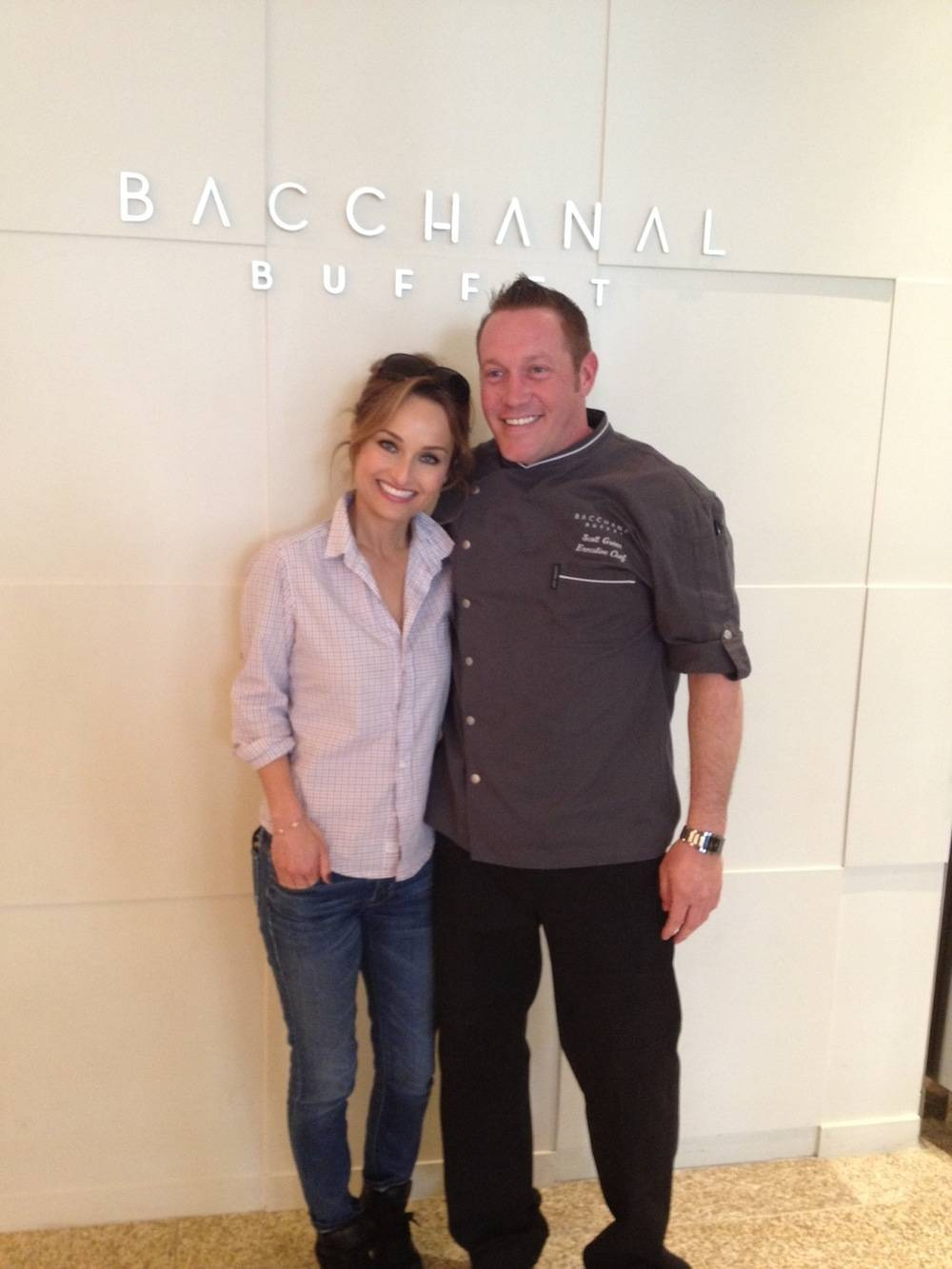 Giada De Laurentiis and Bacchanal Buffet's executive chef Scott Green at the Bacchanal Buffet.