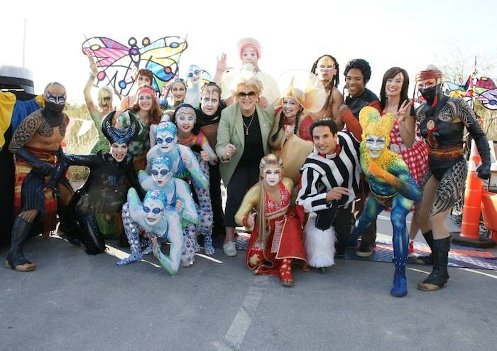 Mayor Carolyn Goodman with Cirque du Soleil artists. Photos: Cashman Photography