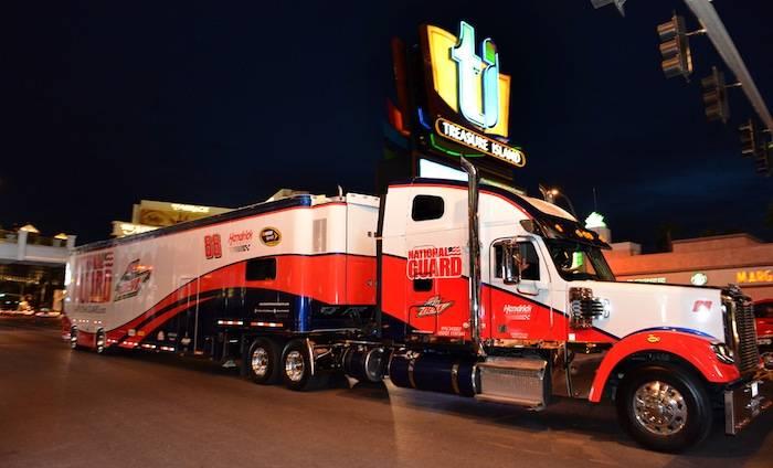 Dale Earnhardt Jr.'s NASCAR hauler on the Las Vegas Strip. Photo: Brian Jones, AP Photo/Las Vegas News Bureau