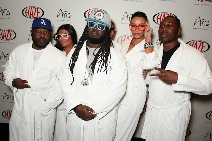 T Pain and his entourage arrive at Haze Nightclub in Aria bathrobes. Photo: The Light Group