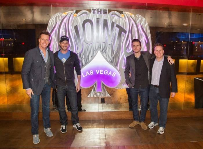 Chris Franjola, Josh Wolf, Jeff Wild and Steve Marmalstein at Prince inside the Joint at Hard Rock Hotel. Photo: © Joey Ungerer