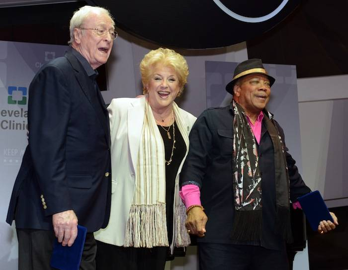 """Las Vegas Mayor Carolyn G. Goodman presents film and music luminaries Sir Michael Caine and Quincy Jones with a key to the City in celebration of their 80th birthdays. A star-studded birthday celebration on April 13 at the 17th annual Keep Memory Alive Power of Love Gala at MGM Grand Garden Arena in Las Vegas will raise funds for Cleveland Clinic Lou Ruvo Center for Brain Health and its fight against neurodegenerative brain diseases. Highlights from the night will include tributes from Chaka Khan and Stevie Wonder, Chris Tucker and Whoopi Goldberg. Wonder lead a """"Happy Birthday"""" serenade, followed by a performance of """"We are the World,"""" by the entire celebrity lineup. Photos: Brian Jones/Las Vegas News Bureau"""