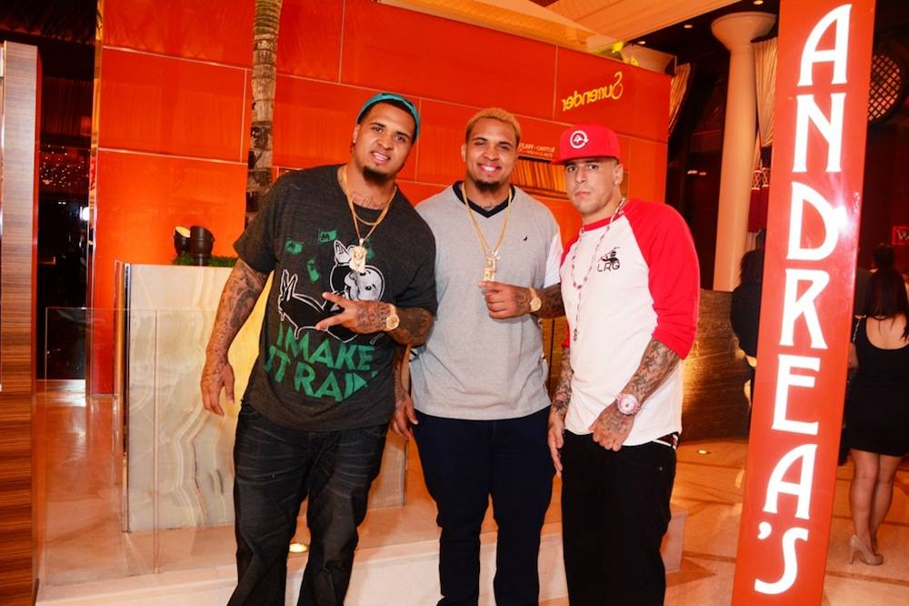 Left to right:Maurkice Pouncey, Mike Pouncey and Aaron Hernandez. Photo: Aaron Garcia