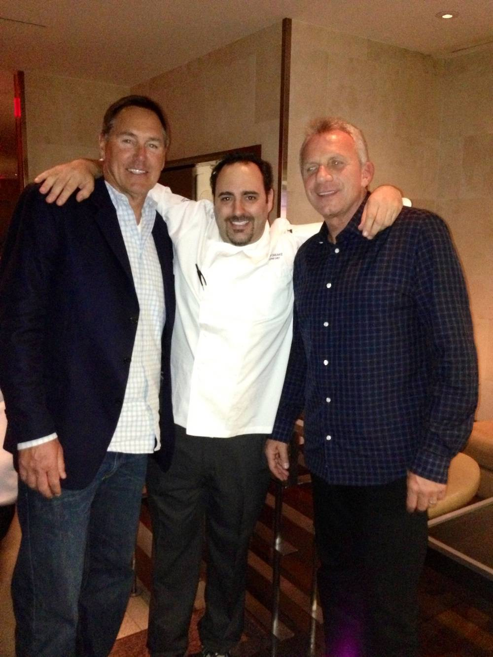 Dwight Clark, chef Barry Dakake and Joe Montana at N9NE Steakhouse