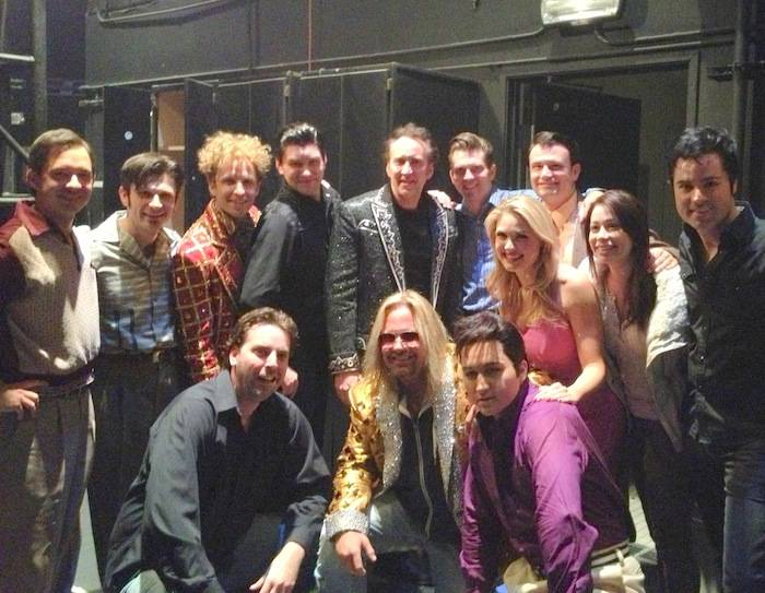 Nicolas Cage and Vince Neil pose with cast of Million Dollar Quartet at Harrah's Las Vegas. Photo: Million Dollar Quartet