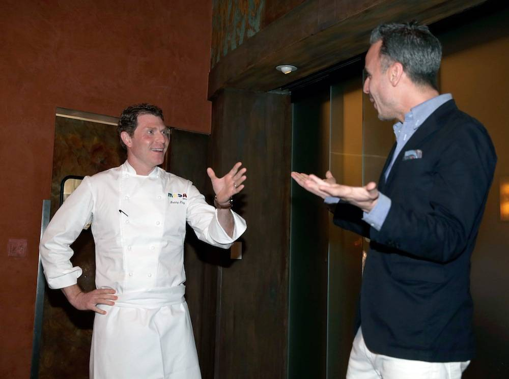 Bobby Flay and Bon Appetite's Adam Rapoport at the Master Series Dinner at Vegas Uncork'd. Photo: Isaac Brekken/Getty Images