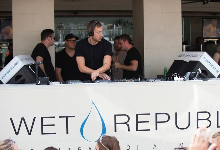 Calvin Harris spins at Wet Republic. Photos: Al Powers/Powers Imagery LLC