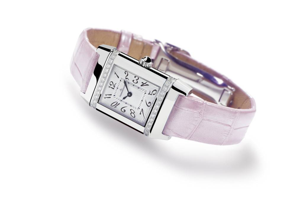Jaeger-LeCoultre Reverso Lady Jewellery in steel and diamonds with a pink alligator strap