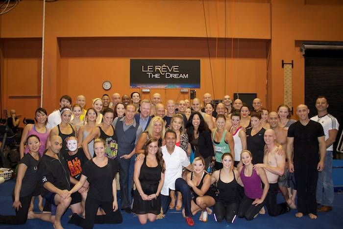 Shawn Johnson with friends and the cast of Le Reve. Photo: Le Reve