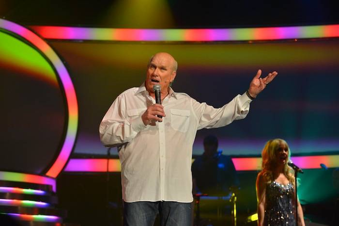 Terry Bradshaw on stage for the debut of his new show at the Mirage. Photos: Bryan Steffy/WireImage