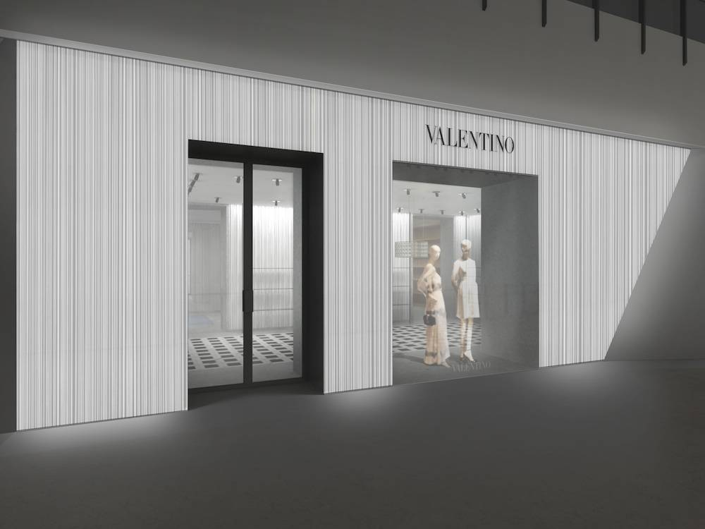 The facade of the new Valentino accessories boutique at Crystals.
