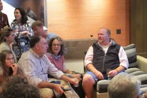 Jose Andres and Mario Batali talk basketball during the NBA finals at the Wines of Spain house on West Buttermilk.