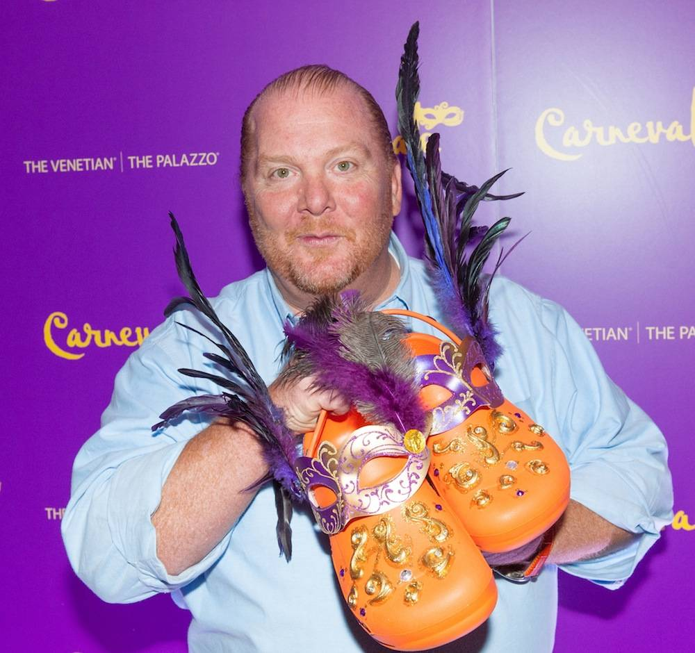 Mario Batali with his Carnevale-inspired Crocs.