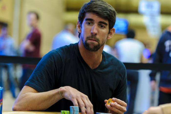 Michael Phelps participates in the World Series of Poker's No Limit Hold 'Em/Eight Handed tournament at the Rio. Photo: Jane Fuhrman/WSOP-Poker News