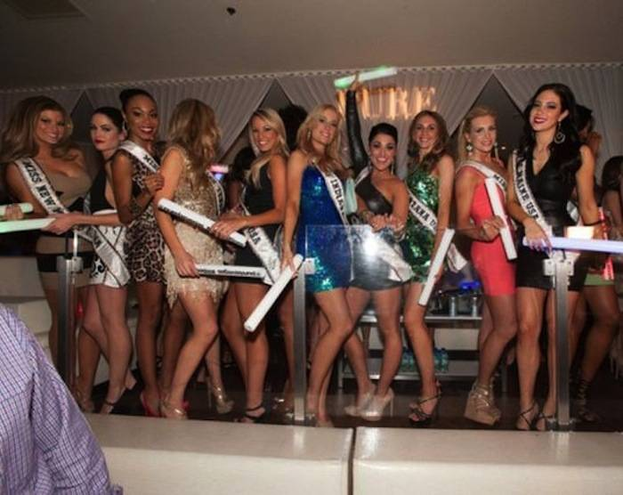 Miss New Mexico USA 2013, Kathleen Danzer; Miss Delaware USA 2013, Rachel Baiocco; Miss North Carolina USA 2013, Ashley Love-Mills; Miss Tennessee USA 2013, Brenna Mader; Miss Vermont USA 2013, Sarah Westbrook; Miss Indiana USA 2013, Emily Hart; Miss Oregon USA 2013, Gabrielle Neilan; Miss Montana USA 2013, Kacie West; Miss Pennsylvania USA 2013, Jessica Billings; Miss Maine USA 2013, Ali Clair; and Miss Wyoming USA 2013, Courtney Gifford at Pure Nightclub in Caesar's Palace. Photos: Patrick Prather/Miss Universe Organization