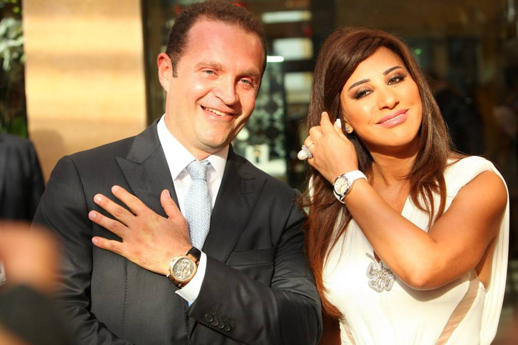 Mr. Pascal Mouawad and Najwa Karam wearing a watch from Mouawad's La Griffe collection
