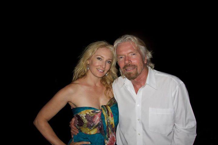 Amber Kelleher- Andrews and Sir Richard Branson on Necker Island.