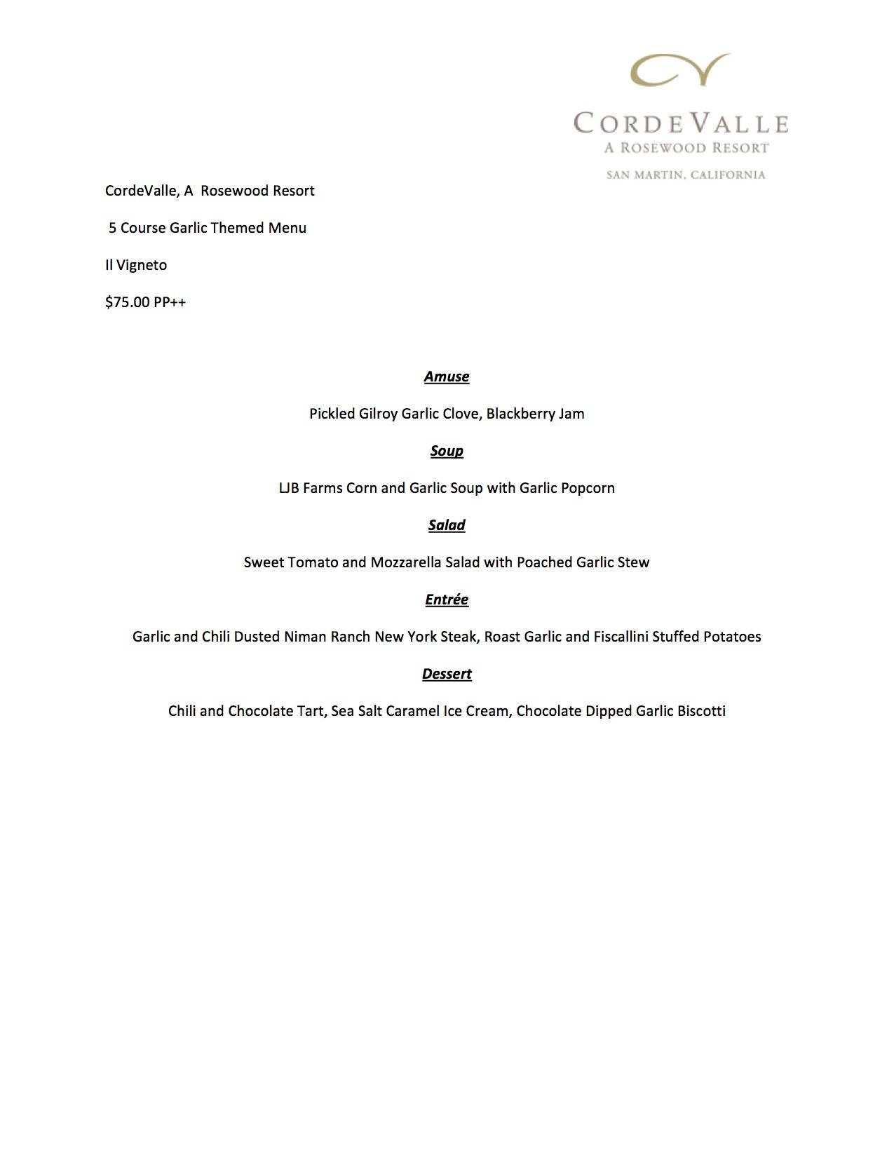 CordeValle Garlic Menu 2013