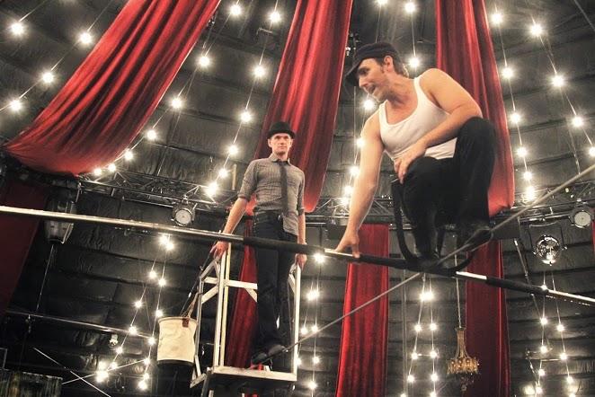 """Neil Patrick Harris walks the tightrope at """"Absinthe"""" with Tony Hernandez. Photos: Tony Hernandez"""
