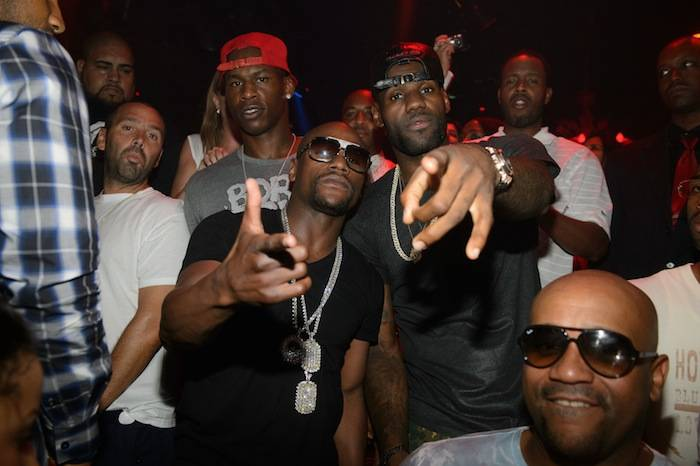 LeBron James and Floyd Mayweather Jr. at Tao Nightclub. Photos: Al Powers/Powers Imagery LLC