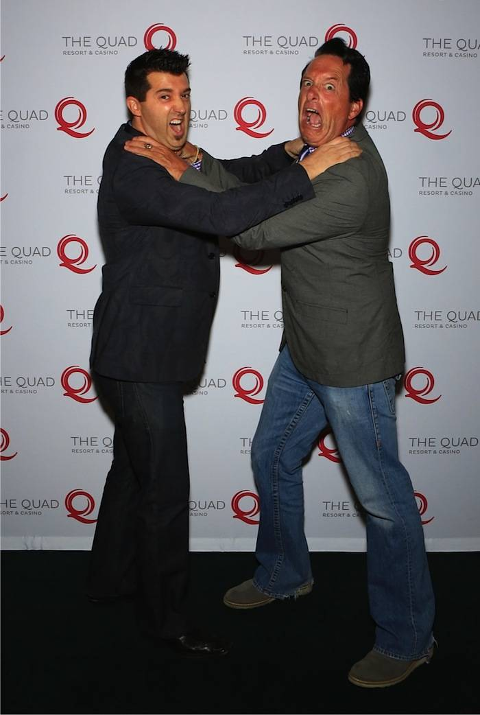 It's the battle of the comedian hypnotists. Paris headliner Anthony Cools and Marc Savard pose together for a funny photo op.