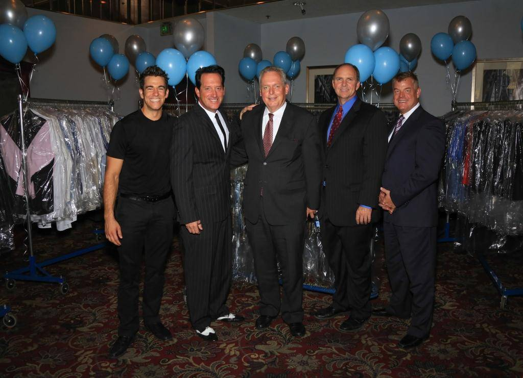The Quad headliner Jeff Civillico; Paris Las Vegas headliner Anthony Cools; Caesars Entertainment global president of market destination and Olive Crest board member Tom Jenkin; executive director of Olive Crest Doug Coombs; Caesars Entertainment regional president David Hoenemeyer. Photos: Gabe Ginsberg