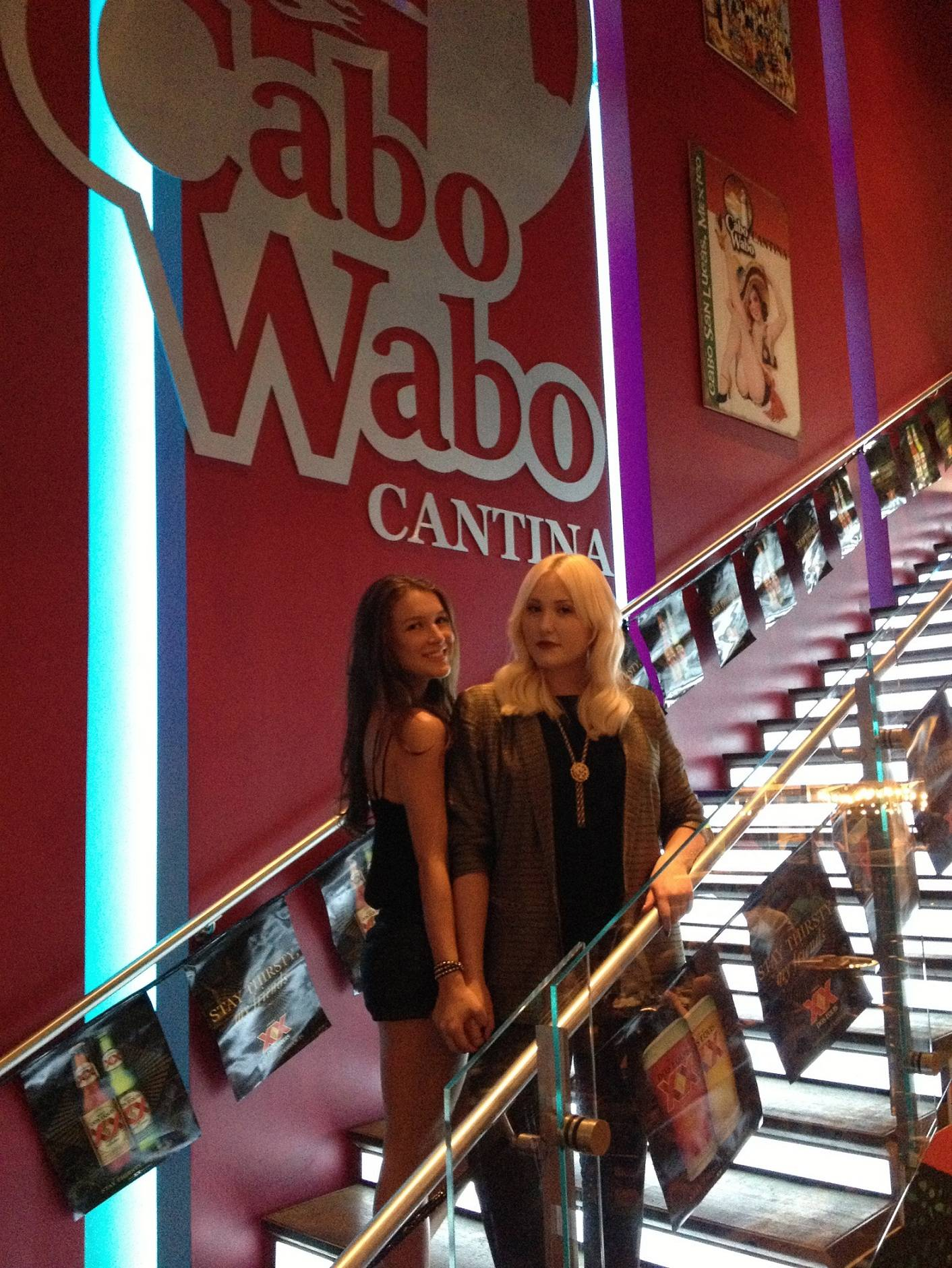 Hayley Hasselhoff and Nathalia Ramos celebrate at Cabo Wabo Cantina.