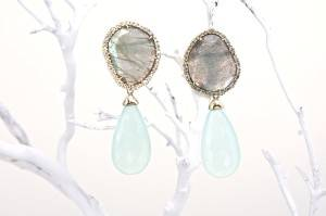 LA Stein 18 karat diamond pave and labradorite slice earrings with green chalcedony drops.  Photo by Sara Hanna