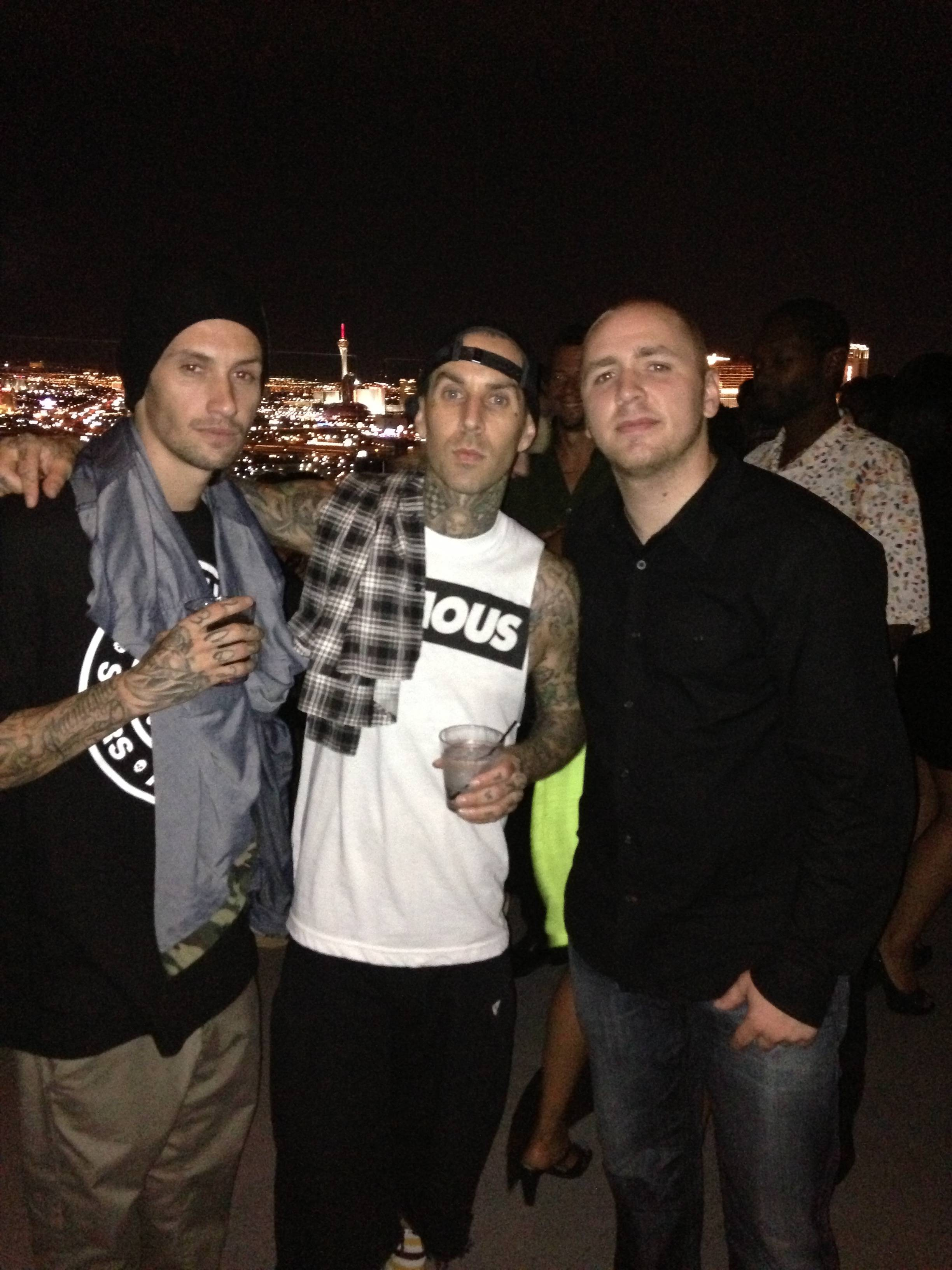 Travis Barker enjoys view of famed Las Vegas Strip below from Ghostbar's patio. Photo: 9Group