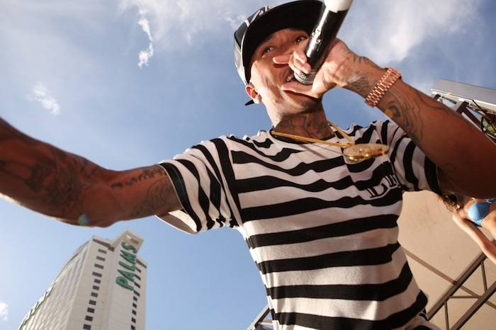 Tyga gets up close and personal with fans during Ditch Saturdays performance. Photos: Joe Fury