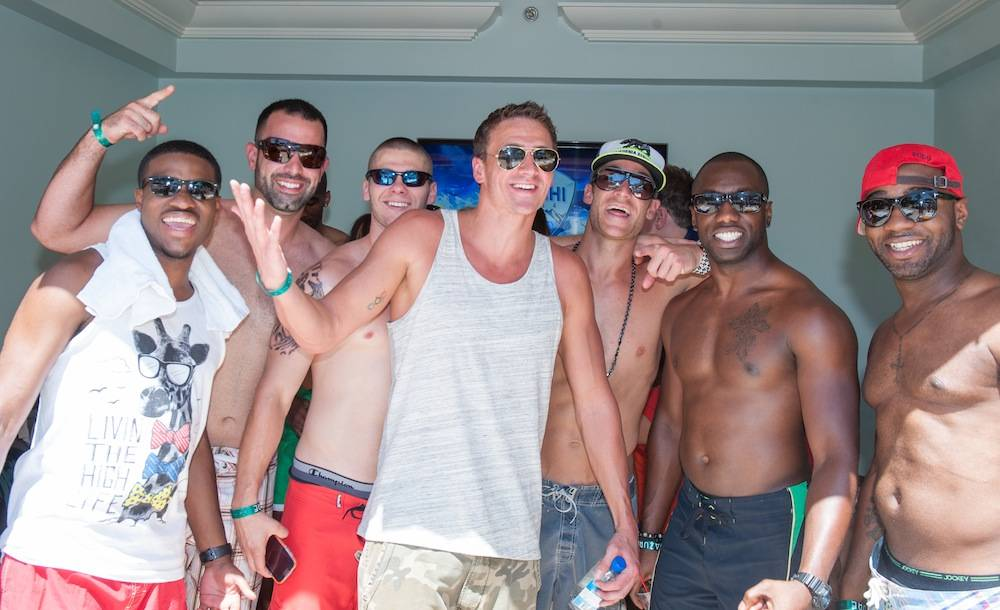 Ryan Lochte at Azure Pool with friends.