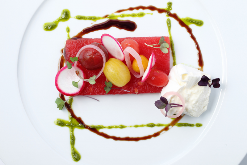Vacuum-compressed watermelon salad