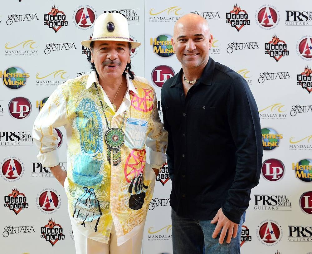 Carlos Santana and Andre Agassi. Photos: Ethan Miller/Getty Images