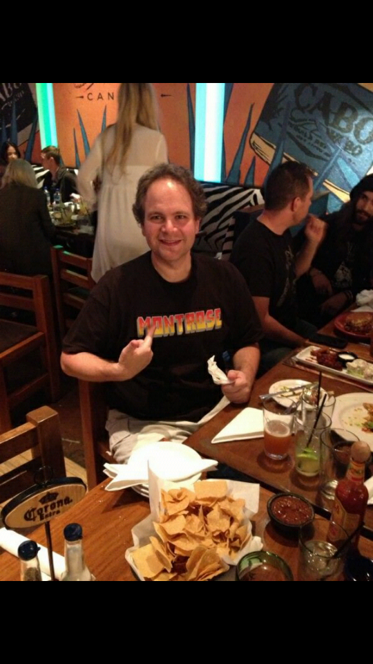 Eddie Trunk showcases his Montrose T-shirt at Cabo Wabo Cantina.