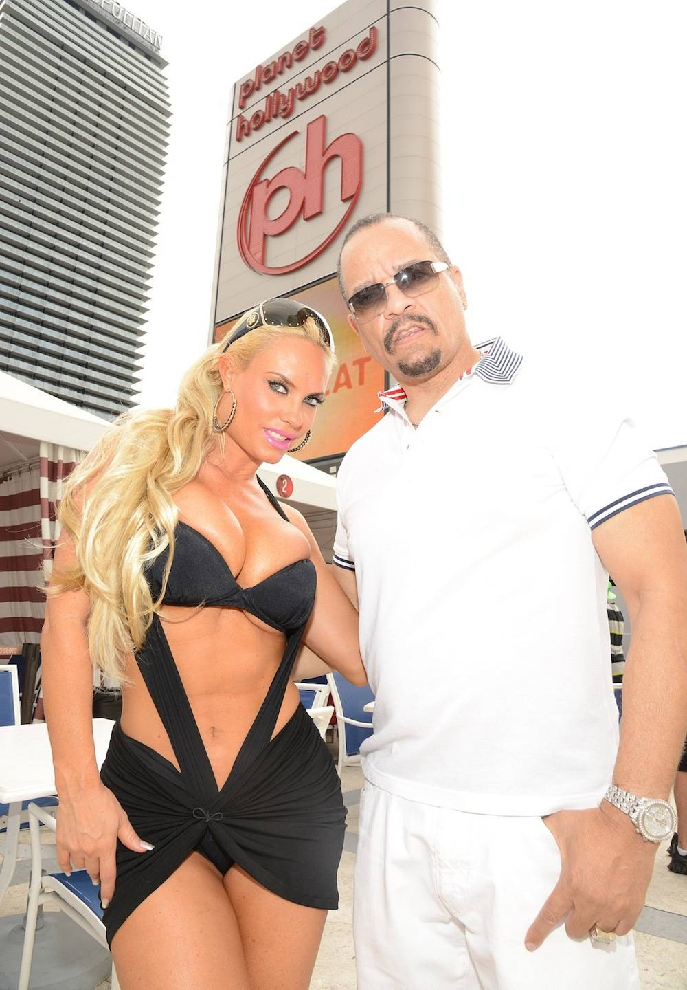 """Ice-T and """"Coco"""" at Pleasure Pool at Planet Hollywood Resort's bikini contest finale on Aug. 31."""