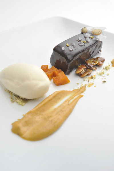 Spiced Pumpkin & Chocolate Cake, Pumpkin Sauce, Pumpkin Seed Oil Ice Cream